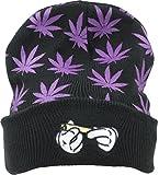 Marijuana Beanie-Hat Weed-Knit Winter-Hat - Hands Letter Kush Weed Skully Hat for Women Men (Black-Purple Leaf)