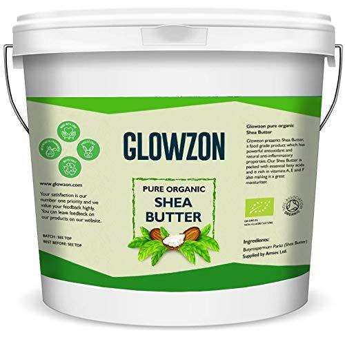 1 kg de beurre de karité bio et non raffiné – 100 % naturel, brut et pur – Certifié par la Soil Association – par Glowzon