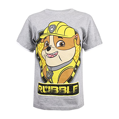 PAW PATROL Jungen Rubble Shield T-Shirt, Grau (Grey Marl SPO), 3-4 Jahre