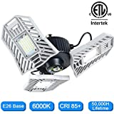 LED Garage Lights, 6000 Lumens Three Leaf Garage Light Bulb 6000K Daylight Deformable LED Garage Lights 60W Garage Lighting Fixture E26 Flexled Garage Light for Garage, Basement