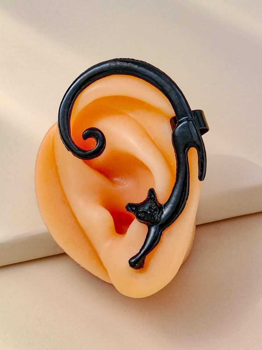 Shower set Hoop Earrings 1pc Cat Design Ear Climber (Color : Black)