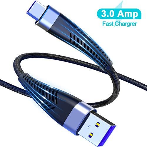 Cabepow USB C Kabel 2M, 2 Stück 2Meter USB C Ladekabel, 3A Nylon Geflochten Schnelles Aufladen/Synchronisation USB C auf A Kabel für Samsung S10 S9 S8 Plus Note10 9 8 LG G5 G6 HTC, Huawei,Google