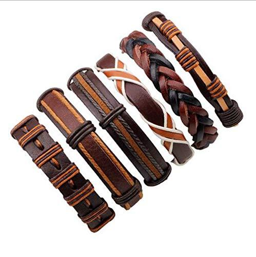 3-6Pcs/Lot Handmade Ethnic Tribal Genuine Wrap Charming Male Pulsera Black Braided Leather Bracelets Bangles