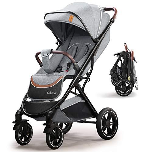 Cochecito ajustable, ligero y compacto, para niños de hasta 3 años, carrito plegable con una mano con ruedas de goma, cesta portaobjetos grande, portavasos cubrepiernas