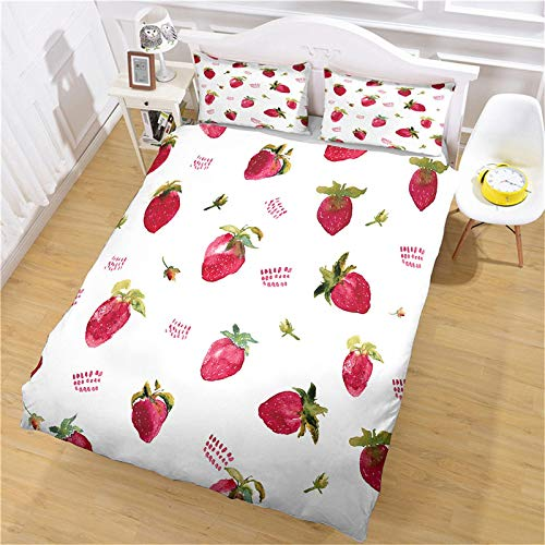 UDUVOG Bedding Set 260X240Cm Red Strawberry Fruit Duvet Cover Set 3D Printed Duvet Cover Ultra Soft Breathable Duvet Cover Adult Child Comforter Cover With Pillowcase Super King Size 3 Pieces