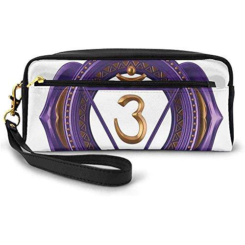 Asiatische ethnische okkulte Zeichen mit ikonischen Elementen Esoterische Kultur Boho Design kleine Make-up-Tasche mit Reißverschluss Federmäppchen 20 cm * 5,5 cm * 8,5 cm