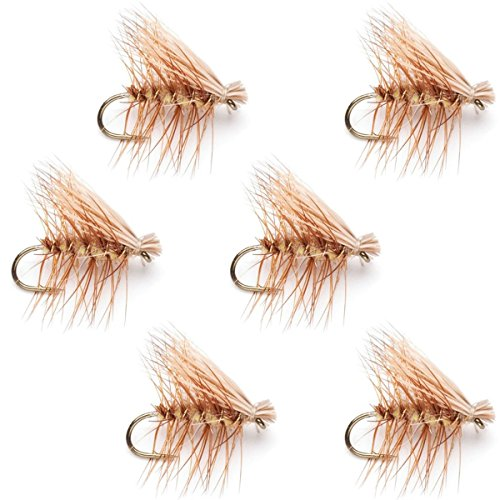 The Fly Fishing Place Tan Elk Hair Caddis Classic Trout Dry Fly - Set of 6 Flies Size 16