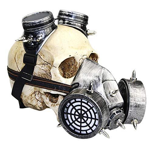 WAVENI Biohazard Steampunk Máscara de Gas Gafas Espigas Esqueleto Guerrero Máscara de la Muerte Mascarada Cosplay Disfraces de Disfraces de Halloween