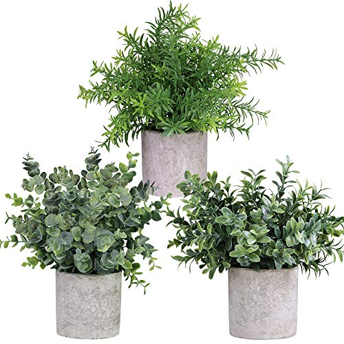 "Mini Potted Plants Artificial Eucalyptus Boxwood Rosemary Greenery in Pots Faux Potted Herbs Small Houseplants 8.3""-9"" Tall for Indoor Greenery Tabletop Décor Centerpiece 3 Pack"