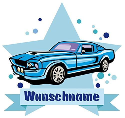 Samunshi® Blaues Auto Wandtattoo Türschild mit Name personalisierbar Kinderzimmer Türaufkleber Baby Wandaufkleber in 9 Größen (25x22cm Mehrfarbig)