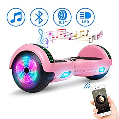 """Spadger 6.5"""" Bluetooth Hoverboard -Self Balancing Scooter 2 Wheel Electric Scooter - UL Certified 2272 Bluetooth LED Wheels Lights (pinkk)"""