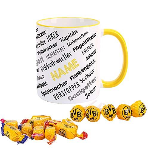 Herz & Heim® Fussball Geschenkset für Fans - Fußballtasse mit Namen gefüllt mit BVB Süßigkeiten