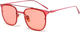 LUKEEXIN Rivet Decoration Colored Lens Lady's Metal Frame UV Protection Sunglasses Outdoor Driving Travelling (Color : Red)