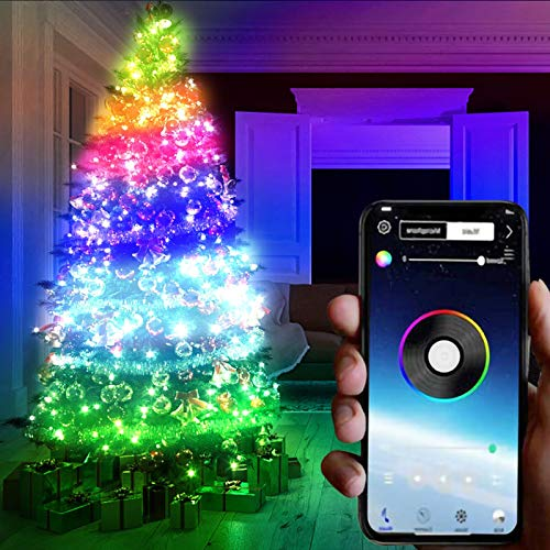 Christmas Tree LED String Lights with 29 Dynamic Modes, 66ft 200 LED Waterproof Decorative Lights, Smart App Controlled Fairy Tree Light with Music for Christmas Tree Garden Patio Bedroom (20M)