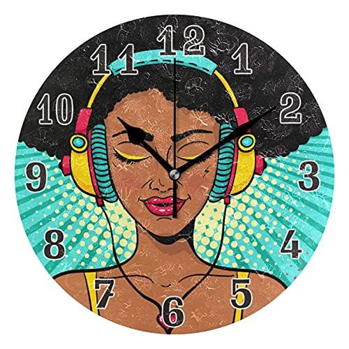 Lewiuzr Reloj de Pared Mujer afroamericana Música Silencioso Reloj Redondo sin tictac para el hogar Sala de Estar Cocina Oficina Decoración de la Escuela