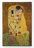 1art1 Gustav Klimt - El Beso II Cuadro, Lienzo Montado sobre Bastidor (120 x 80cm)