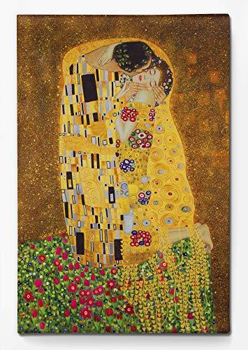 1art1 Gustav Klimt - Der Kuß II Bilder Leinwand-Bild Auf Keilrahmen   XXL-Wandbild Poster Kunstdruck Als Leinwandbild 120 x 80 cm