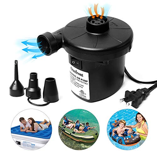 Ouxfront Electric Air Pump for Inflatables, 110V AC Portable Quick Air Mattress Pump Raft Boat Air Bed Pool Toy Swimming Ring Inflatable Pump with 3 Nozzles Black (130W)
