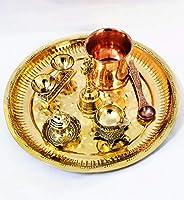 Shree Laxmi handicraft Moradabad Brass and Copper Puja Items Turtle Diya Plate Set (Gold , 10 Inch )