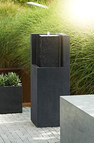 Esteras 8512117387 Fountainslite Stone Garden Fountain, Apuro 87, black, 32 x 32 x 87 cm