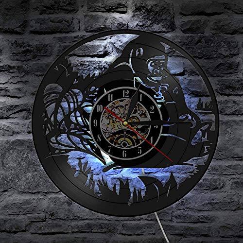 BFMBCHDJ Jungle Monkeys Vinyl Record Wanduhr Vintage Orang-Utan Wandkunst Hängende Uhr Geschenk für Kinder Kinderzimmer Dekor Uhr Uhr