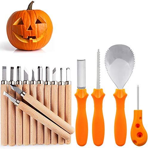 MeiGuiSha 16 Pieces Professional Wooden Pumpkin Carving Tools Kit