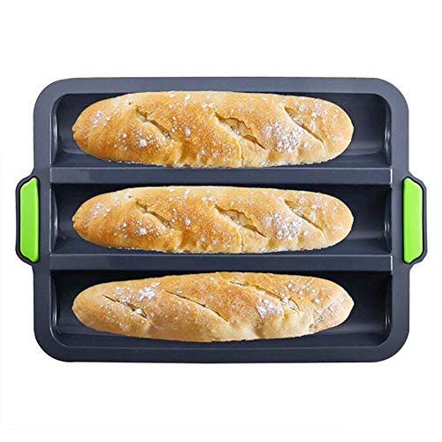"small Anti-stick silicone baguette baking sheet French bread baking sheet, 3 corrugated cardboard baguette baking sheet 11 ""x2.3"