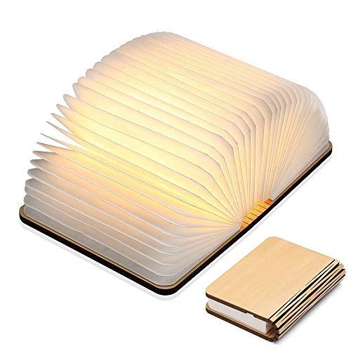 Yuanj Lampada Libro USB Ricaricabile, Lampada a Forma di Libro, Luce LED di Legno, Decorativi Lampada da Tavolo -880mAh Mini...