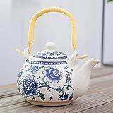 huobeibei Mango Olla Tetera de cerámica Vintage Porcelana Azul y Blanca pequeña Tetera 500ml con...