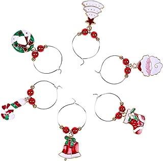 decorazione da tavola 1 Assorted Color Confezione da 6 segnabicchieri natalizi decorativi per bicchieri da vino in metallo capodanno Macabolo per feste
