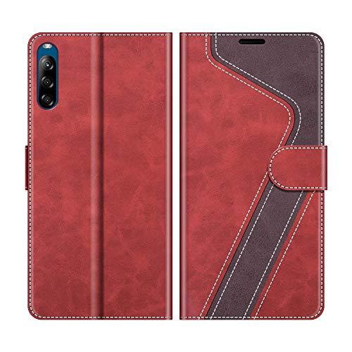 MOBESV Handyhülle für Sony Xperia L4 Hülle Leder, Sony Xperia L4 Klapphülle Handytasche Hülle für Sony Xperia L4 Handy Hüllen, Modisch Rot