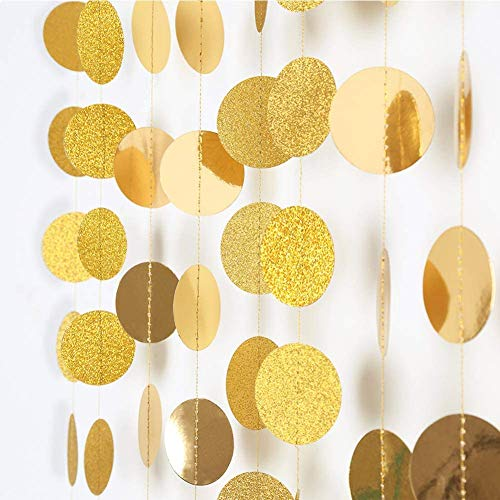 Cheerland Shinning Glitter Gold Circle Dots Garland Kit for Party Decorations Hanging Steamers Banner Backdrop Poka Dot Garlands for Birthday Baby Shoer Wedding Engagement Sweet 16 Bachelorette