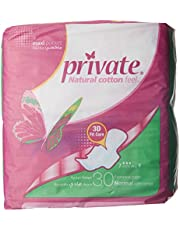 Private Natural Cotton Feel, Maxi Thick,Folded with wings, Normal Sanitary Pads, 30 pads