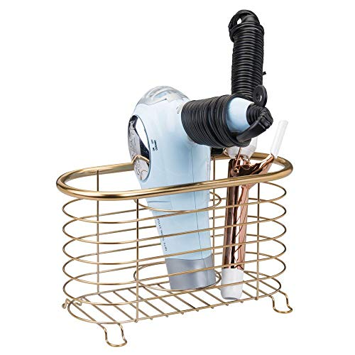 mDesign Soporte para secador de Pelo sin Taladro – Práctico Organizador de baño en cesto de Rejilla – Estante multifunción para secador, rizador eléctrico y Plancha – latón