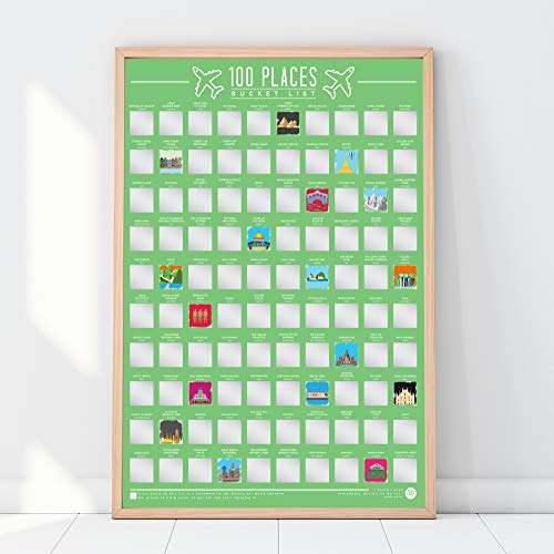 Gift Republic 100 Places – Scratch Off Eimer Liste Poster, grün