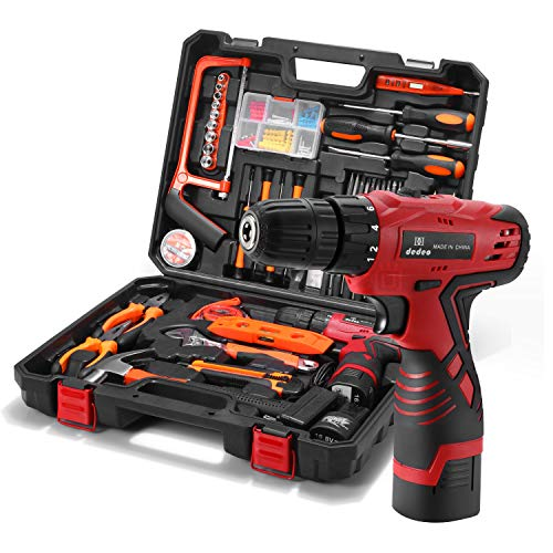 Dedeo Tool Set with Drill 168V Lithium Cordless Drill set for 60Pcs Home Cordless Repair Kit Tool Set Driver Claw Hammer Wrenches Pliers DIY Accessories Tool Kit US