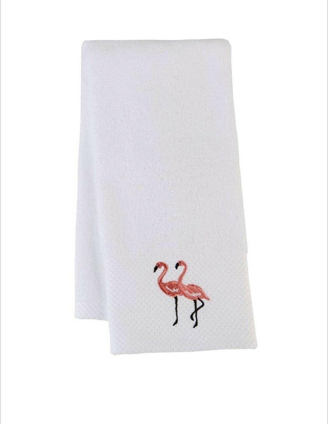 Flamingo Embroidered Hand Towels Set 2 of Beach Elegant Tow San Antonio Mall Summer