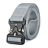 MOZETO Men's Tactical Belt, Military Nylon Web Rigger Work Carry Tool Belts for Men with Heavy-Duty Quick-Release Buckle (Gray, S(Waist 30'-36'Width 1.5'))