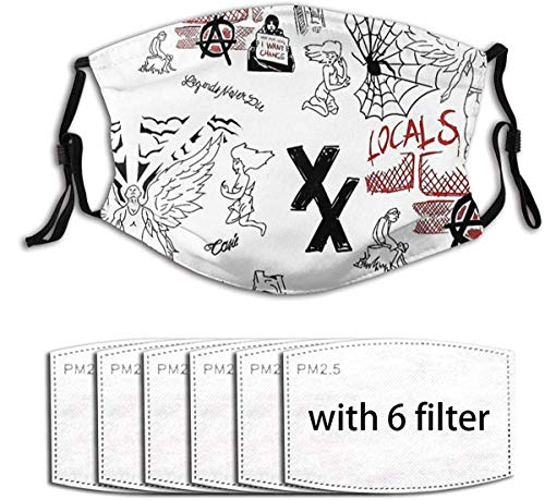 Cartoon Face Mask- Machine Gun Kelly Tattoos Adults Mouth Cover Face Scarf Adjustable Cover with 6 Filter