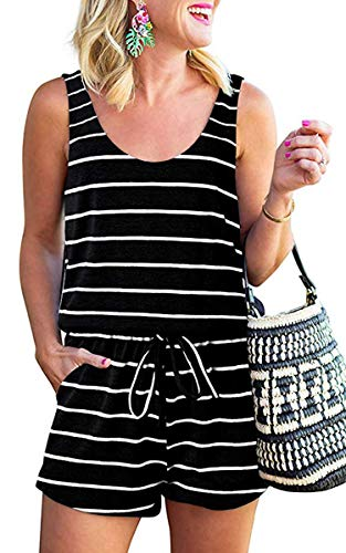 ECOWISH Womens Romper Striped Summer Scoop Neck Sleeveless Tank Top Adjustable Waist Short Jumpsuit Rompers with Pockets 010 Black Medium