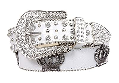 Snap On Rhinestone Crown Silver Circle Studded Genuine Leather Belt, White | S/M - 31