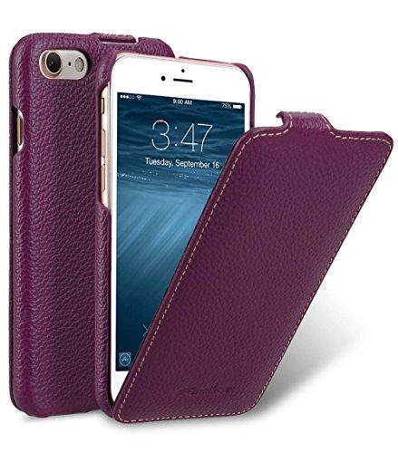 MELCKO Edle Tasche für Apple iPhone 8 & iPhone 7 (4.7 Zoll), Case Außenseite aus beschichtetem Leder, Schutz-Hülle aufklappbar, Flip-Case, ultra-slim Cover, Etui, Lila, Violett
