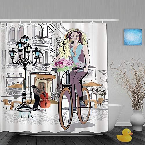 NISENASU Poliéster Cortina de Baño,Parisina con Bicicleta