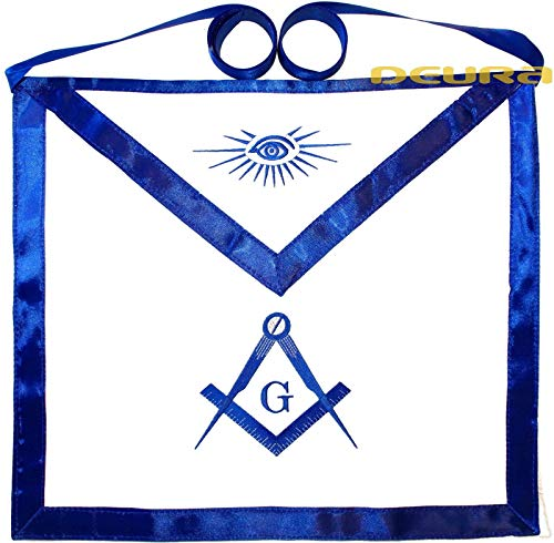DEURA Masonic Square & Compass Cotton Embroidered Fraternity Apron Blue Lodge DMA-1000