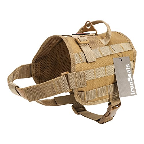 IronSeals Tactical Dog Training Vest K9 Molle Compact Service Dog Harness Nylon Mesh Dog Training Hunting Clothes for Training Hiking Outdoor Sports