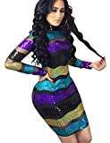 High Neck Sequin Sheer Mesh Dress for Women Black Purple Colorful Striped Glitter Tiered Midi Dress Floral L