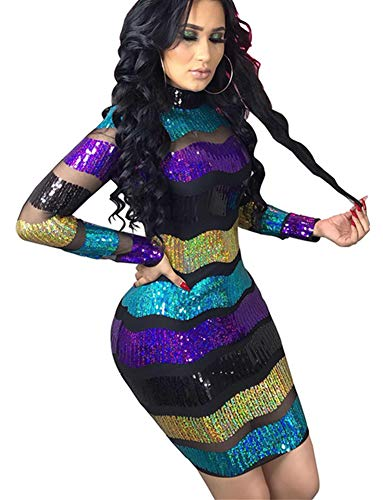 High Neck Sequin Sheer Mesh Dress for Women Black Purple Colorful Striped Glitter Tiered Midi Dress Floral M