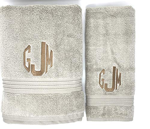 Monogramed Towel Set by EmbroiderableLinens Inc. Your choice of color towel set, font for monogram, and color for embroidery
