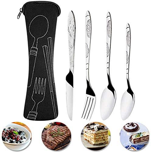 RetroFun - Juego de cubiertos de 4 piezas, acero inoxidable, cubiertos con cuchillo y cuchara tenedor, juego de vajilla portátil ligero para acampar, casa/fiesta