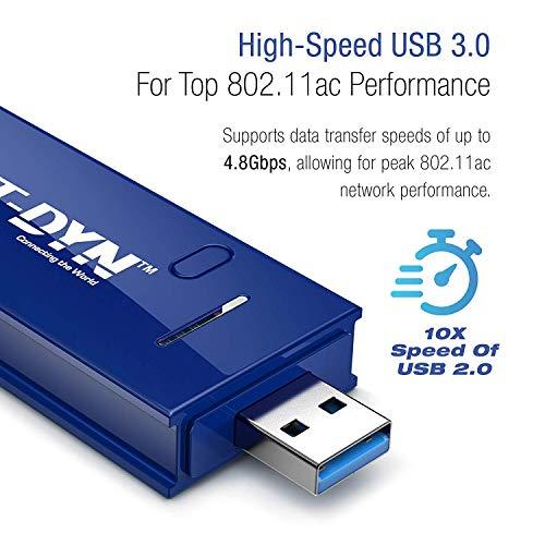 NET-DYN Adaptador WiFi inalámbrico USB, AC1200 de doble banda, 5 GHz y 2,4 GHz (867 Mbps/300 Mbps), súper fuerza para que puedas decir adiós al búfer, para PC o Mac, para escritorio o portátil